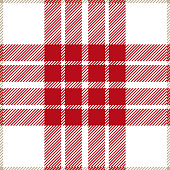 Red and white seamless traditional tartan plaid pattern design.