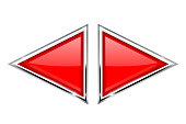 Red triangle buttons with metal frame. Vector 3d illustration isolated on white background