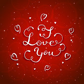 White lettering I Love You with hearts on red starry background, congratulations on Valentines day, illustration.
