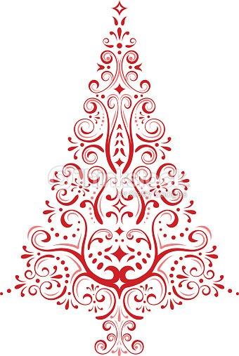 Red vector christmas tree art thinkstock