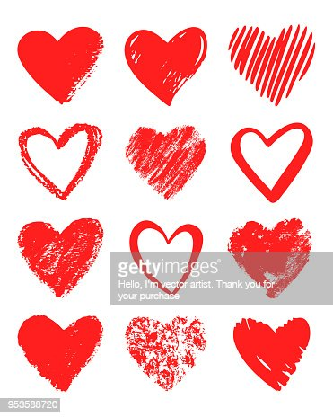 Red vector hand drawn set of different hearts. : Vector Art