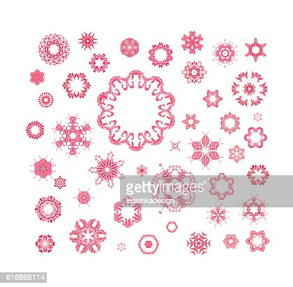 red vector snowflakes set : Vector Art