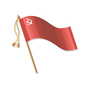 Red Victory banner. Vector isolated illustration on white background.