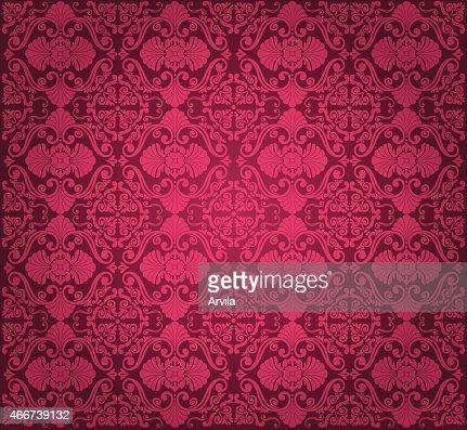Motif De Papier Peint Vintage Rouge Design Clipart Vectoriel