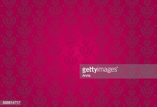 red vintage valentine's card background with hearts : Vector Art