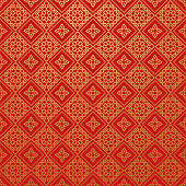 Red Wallpaper Pattern, Vector Art.