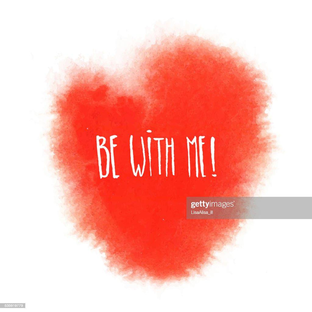 Red watercolor heart : Vector Art