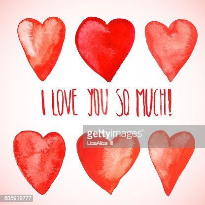 Red watercolor hearts : Vector Art
