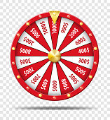 Red Wheel Of Fortune isolated on transparent background. Casino lottery luck game of chance. Win fortune Wheel roulette. Vector illustration EPS 10.