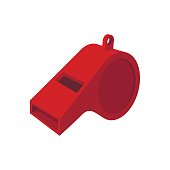 Red whistle cartoon icon isolated on a white background