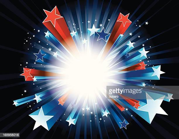 Red, white, and blue stars bursting