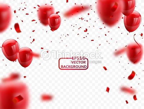 Rot Weisse Luftballons Konfetti Konzept Design Vorlage Happy