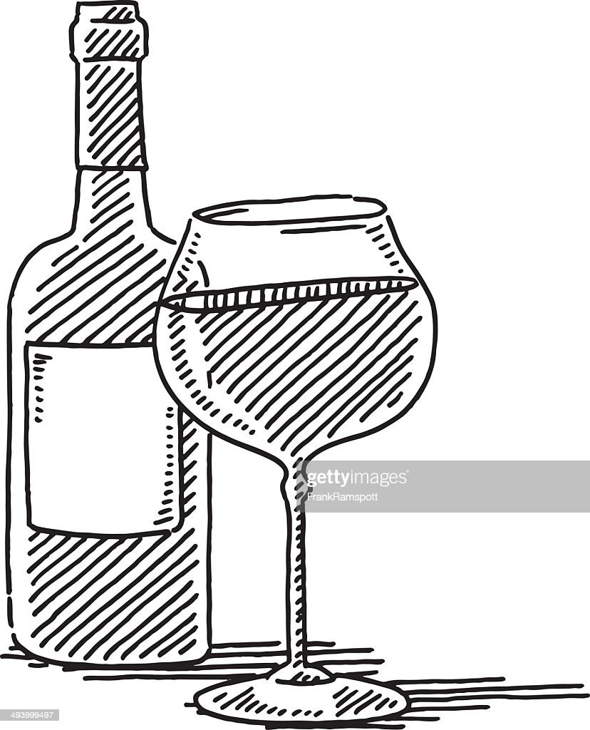 Red Wine Glass Bottle Drawing Vector Art | Getty Images