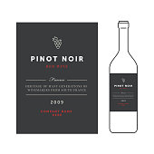 Red wine labels. Vector premium template set. Clean and modern design. Pinot noir grape sort