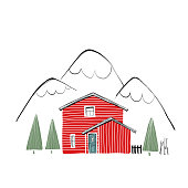 winter illustration with a red wooden house in minimalistic style