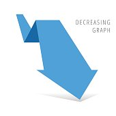 Reduction graph concept. Blue arrow depict recession business. Flat illustration of fallof arrow with shadow as an element for infographic, article background for internet, publish, social networks.