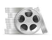 reel with cinema film stock vector illustration isolated on white background