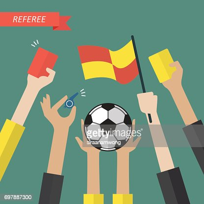 Referee hand holding a soccer icons : stock vector