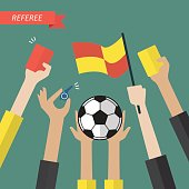 Referee hand holding a soccer icons. Vector illustration