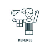 Referee vector line icon, outline concept, linear sign