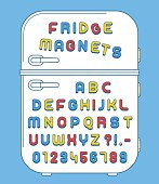 Colorful numbers and alphabet refrigerator magnets on doors over blue background, vector illustration