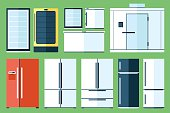 Vector set of refrigerator types, flat style.