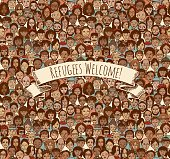 Tileable background pattern of hand drawn faces with removable banner