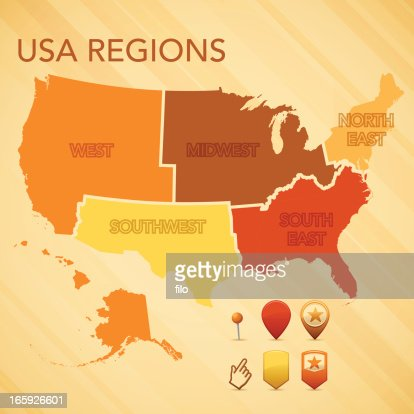 Usa Region Map Vector Art Getty Images - South us region map