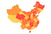 Regional map of administrative provinces of China. Four shades of orange with white labels on white background. Vector illustration.