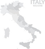 Regions map of Italy gray