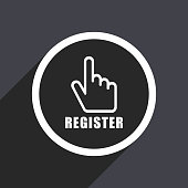 Register flat design vector icon.