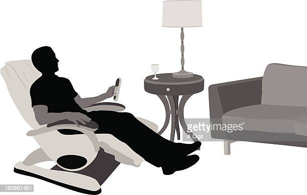 Relaxing At Home Vector Silhouette