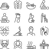 Relaxing massage and organic spa line pictograms. Hand therapy vector icons. Spa and therapy, massage for health and relax illustration
