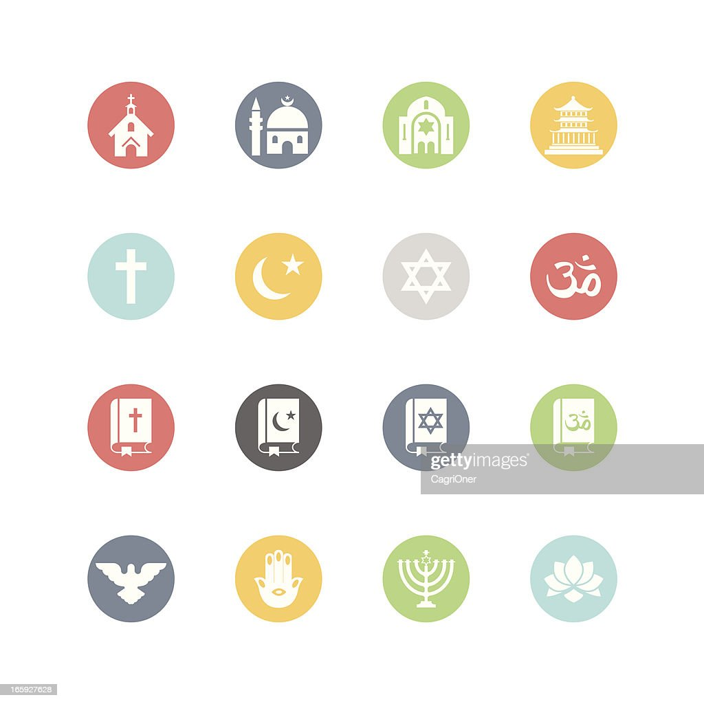 Religion icons minimal style vector art getty images for Minimal art vector