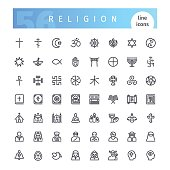 Set of 56 religion line icons suitable for gui, web, infographics and apps. Isolated on white background. Clipping paths included.