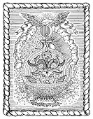 Occult and esoteric vector illustration, gothic engraved background.