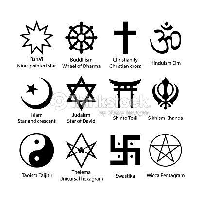 Religious Symbols Set Religion Signs Simple Black Icon Set Vector