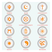 A circle of religious symbols. International religions of the world in the signs.