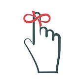 Reminder symbol. Red ribbon (string) tied on finger