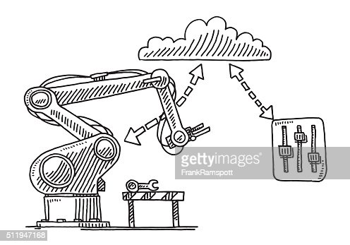 remote control drawing. remote control cloud technology for industry robots drawing vector art | getty images