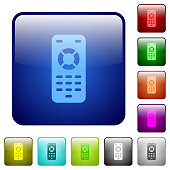 Remote control icons in rounded square color glossy button set