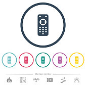 Remote control flat color icons in round outlines. 6 bonus icons included.
