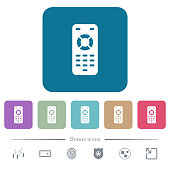 Remote control white flat icons on color rounded square backgrounds. 6 bonus icons included