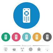 Remote control flat white icons on round color backgrounds. 6 bonus icons included.