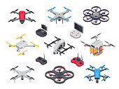 Remote control flying copter with camera. Radio controllers for rotor drone. Unmanned aircraft drones isolated 3d isometric vector set