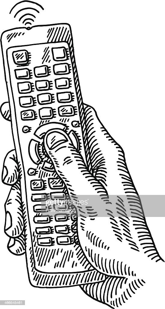 remote control drawing. tv remote control hand drawing : vector art r