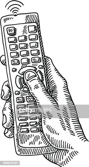 tv remote control hand drawing vector art