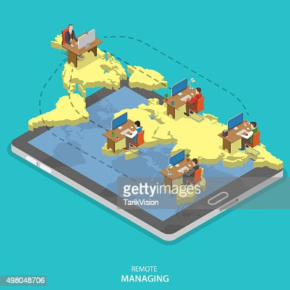 Remote managing isometric flat vector concept. : stock vector