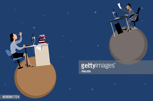 Remote workers and teamwork : stock vector
