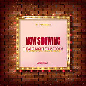 3D render Marquee light square board sign on brick wall backgroud.